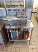 S/S Twin Basket Commercial Electric Fryer with S/S Prep Table