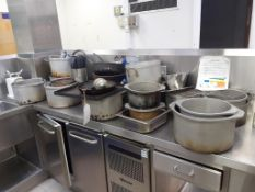 Large Qty of Cookware to include Pans, Trays, Knives etc and 2x Electric Scales