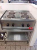Lincat S/S 4 Burner Electric Range Counter Top Commercial Cooker with S/S Prep Table