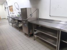 Class EQ, Hydro857 S/S Pass Through Dishwasher with S/S Double Shelf Feed Table and S/S Double Sink