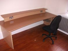 Light oak effect desk with electrical points and u