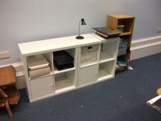 2 white 4-hole storage units and oak effect 3 tire