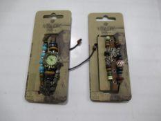 A box of Hippie Chic 'Bazaar' watch and 'Boho' bracelets