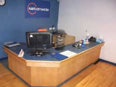 Contents to reception, including reception counter and 6 chairs