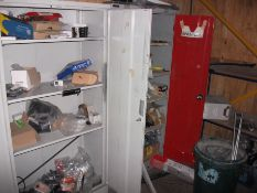 2 Steel storage cupboards and contents