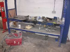 Steel workshop racking and contents including vice