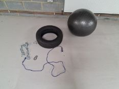 An Exercise Ball, Tyre and Skipping Rope