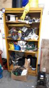 Cabinet and contents, to include welding rods, electric metres, tape, nuts and bolts etc