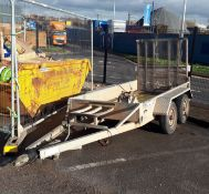 Indespension twin axle trailer, Type V67Z, Serial Number 207200. Please note, the trailer has a
