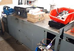 Steel fabricated work bench, with Record No25 engi
