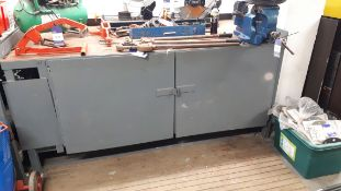 Steel fabricated work bench, with Record No25 engineers vice, approx 2m x 1m