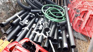 Large quantity of black plastic fall pipe, and water piping