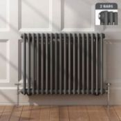 New & Boxed 600x828mm Anthracite Double Panel Horizontal Colosseum Traditional Radiator.RCA563.