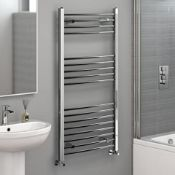 New 1200X600Mm - 20Mm Tubes - Chrome Curved Rail Ladder Towel Radiator.Nc1200600.Made From Chrome
