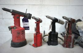 4 x various pneumatic pop rivet guns