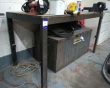 Steel fabricated work bench with vice
