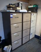 3 x 4 drawer metal filing cabinets and contents to