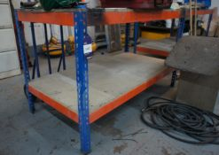 2 x steel framed work benches