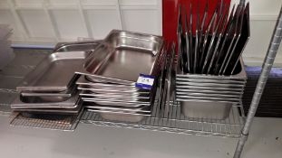 Quantity of various Stainless Steel Gastronorm Pans and Lids. Located at The Great Little Catering