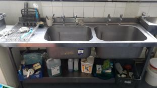 Stainless Steel Double Sink with Left Hand Drainer