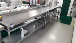 2 x Vogue Stainless Steel Food Prep Tables with Ga