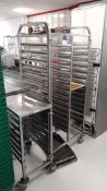 Double Column 15 Tier Mobile Tray Trolley and Vogue 7 Tier Mobile Tray Trolley and approx. 10 trays.