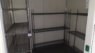 3 x Bays Adjustable Wire Shelving to Cold Room (2 x 1500mm and 1 x 1200mm). Located at Fresco's