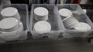 3 x Containers containing various White Crockery. Located at The Great Little Catering Company