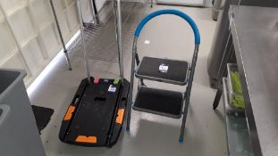 Nansin folding platform trolley and MacAlister folding 2 step stool Located at The Great Little
