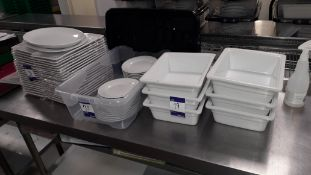 Quantity or crockery to include Rectangular Plates, Side Dishes and 6 x Rectangular Oven Dishes.