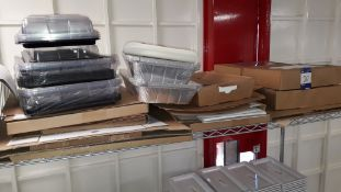 Quantity of Flat pack Food Packaging boxes and Small Quantity of Disposable Platter trays. Located