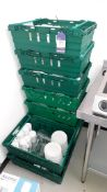 Contents of 9 Crates to include various Crockery and glassware. Located at The Great Little Catering
