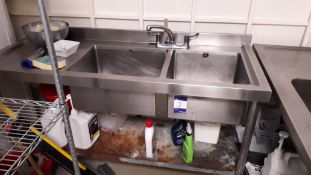 Vogue Stainless Steel Twin Sink with Left Hand Dra