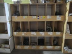 Contents to Wood Storage Unit to include Back Iron Caps, Bends, Bushes, Sockets and Various Other