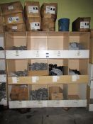 Contents to Wood Storage Unit to include Various Plastic Fittings and Clips e.g. Y Branch Tee,