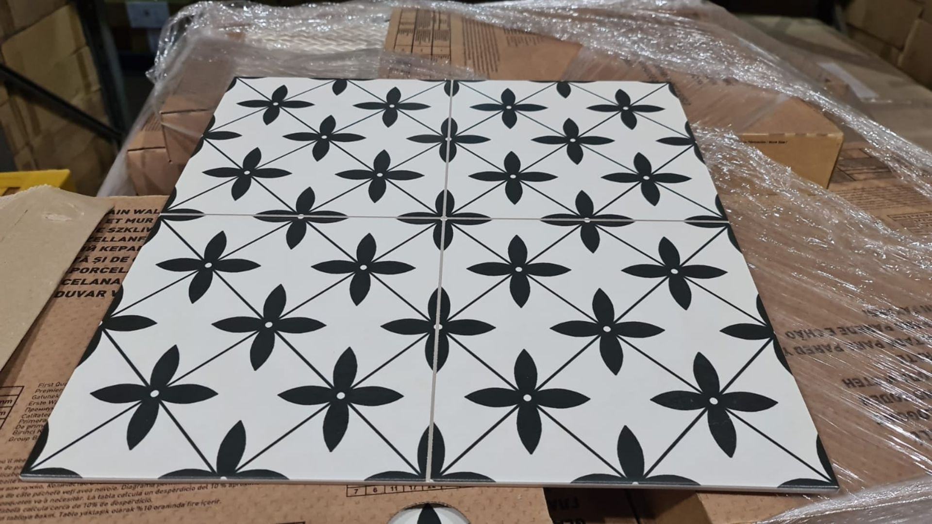 NEW 5.68M2 Black and White Caliber Glazed Porcelain Wall and Floor Tiles. Create a seamless,