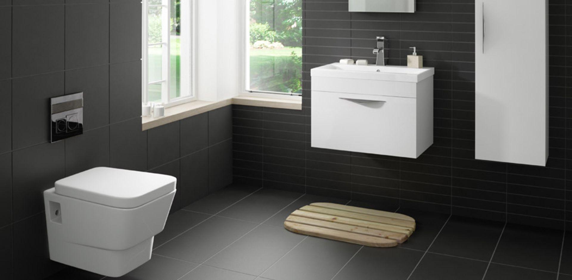 NEW 30.24M2 Pescaro Black Matt Plain Ceramic Wall & floor tile. 30x30cm per tile. Slip