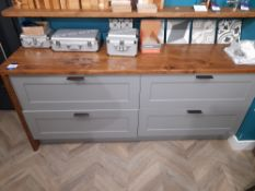 2 Pan drawer sideboard unit, with wooden work surf