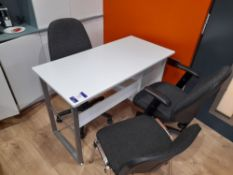 Freeform desk with 3 x assorted chairs