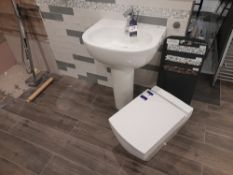 Flero pedestal and basin, with Tec studio tap to sink, and soft close toilet