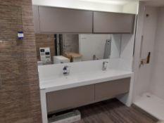 Bathroom suite (approx. 1970 x 480 x 810) comprising unistone worktop, 2 x Corrian couples sink, 2 x