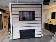 Wooden slatted welcome display unit (Approx 8ft) i