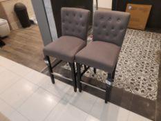 2 x Fabric upholstered bar stools