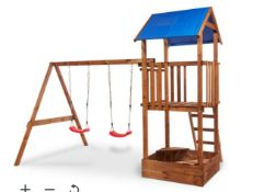 New Janer Wooden Swing Set. This Janek swing set comes with swing seats, swing hooks, tower, roof