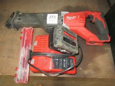 Milwaukee M18BSX cordless handsaw with battery and charger