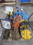 Contents of a Pallet including 3 110 Volt Extensions, 110 Volt Splitters, Various Lights etc