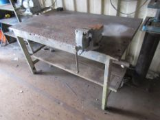 Wooden Top Metal Framed Work Bench with Record vice