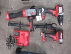 Milwake Cordless Power Tools to include 2 x drill and angle grinder, 1 x battery and charger