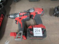 2 x Milwaukee cordless drills (one missing battery)