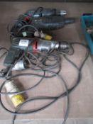 3 x 110V hammer drills (Metabo, Bosch and Atlas Copco)